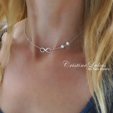 Infinity Necklace With Pearl Beads In Sterling Silver or Solid Gold