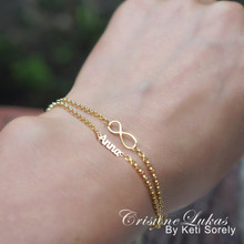 Layered Infinity Bracelet  with Your Name - Choose Your Metal