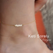 Dainty Name Anklet with Script Font -  Choose Your Metal