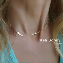 Dainty Name Necklace With Sideways Cross -  Choose Your Metal
