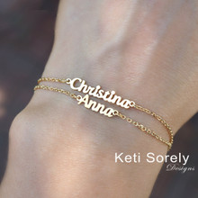 Stacking Bracelet With Names For Kids or Adult -  Choose Your Metal