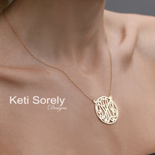 Script Monogrammed Necklace With Frame - Sterling Silver or Solid Karat Gold