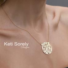Script Monogrammed Necklace With Frame - Sterling Silver or Solid Karat Gold