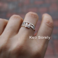 Double Wrap Date Ring with Roman Numerals & Infinity - Choose Your Metal