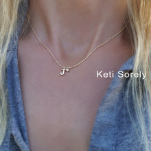 Dainty Single Initial Necklace With Birthstone or CZ