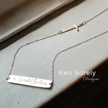 Personalized Bar Necklace With Sideways Cross & Diamond - Choose Your Metal