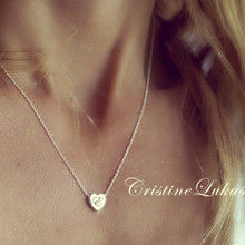 Floating Heart Charm With Engraved Initial