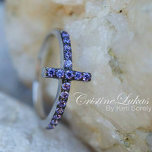 30% off - Sideways Cross Ring with Pink CZ Stones - Sterling Silver
