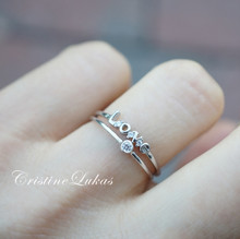 "Dainty Rings Set With Inspirational Word ""Love"" in Sterling Silver"