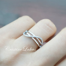 20% off - Sideways Infinity Ring with CZ Stones - Sterling Silver