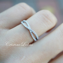 20% off - Sideways Criss Cross Ring with CZ Stones - Sterling Silver