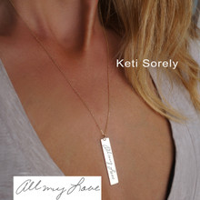 Vertical Bar Necklace with Engraved Handwriting Message - Choose Your Metal
