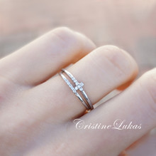 SALE! Dainty Cross Ring With CZ Band - Sterling Silver