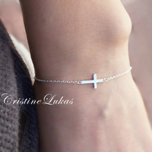 Dainty Sideways Cross Bracelet For Kids or Adult  - Choose Your Metal