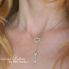 Heart Lariat Necklace with Drop Arrow - Sterling Silver