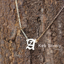 Personalized Initial Necklace In Old English Font - Choose Metal