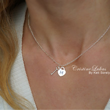 Engraved Heart Charm Necklace with Small Key