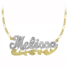 Personalized 2-Tone Name Necklace with Diamond Beading.