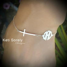Sideways Cross Bracelet with Modern Monogrammed Initials - Choose Your Metal