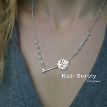 Sideways Key Necklace With Initials & Pearls- Yellow, Rose or White Gold