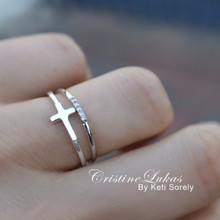 Dainty Cross Ring with CZ Band - Rings Set - Silver, Yellow or Rose Gold
