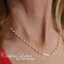 White Pearls Necklace with Dainty Name  - Choose metal