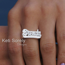 Personalized Name Ring with Diamond Beading - Choose Your Metal