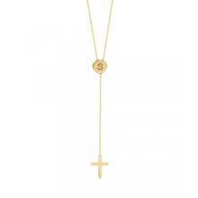 Engraved Initial Disc  Necklace with Dangle  Cross- Choose Metal