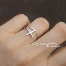 Double Wrap Sideways Cross Ring - Choose Your Metal