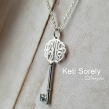 Small Key Necklace with Diamond Beading Monogram - Choose Your Metal