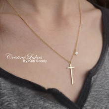 Classic Cross Necklace With Genuine Birthstone - Choose Your Metal