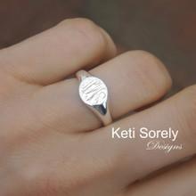 Dainty Monogram Signet Ring - Choose Metal