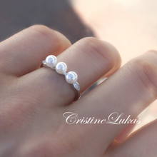 20% OFF -  Fresh Water Pearl Ring with CZ Stones -Sterling Silver