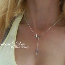 Lariat Cross Necklace with Infinity - Choose Metal