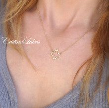 Solid Gold  Cut Out Clover Necklace - choose Metal