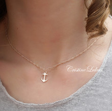 Copy of Solid Gold Anchor Necklace - Dainty Anchor With Cross - White Gold, Yellow Gold or Rose Gold
