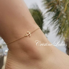 Sideways Anchor Anklet In Solid Gold - Choose Metal