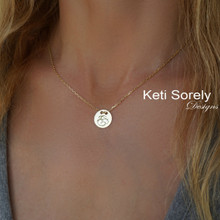 Personalized Round Monogram Disc Necklace  - Choose Metal