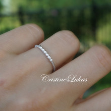 Cubic Zirconia Bar Ring with  Rope Style Band - Choose Metal