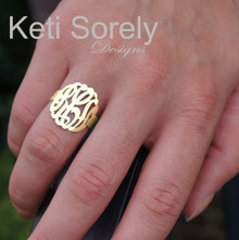 Personalized Hand Cut Monogram Initials Ring - Choose Your Metal