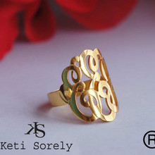 Personalized Monogram Initials Ring in Sterling Silver, Gold Filled, Yellow, Rose or White Gold