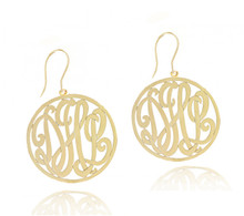 Personalized Handmade Monogram Initials Earrings with Ear Wire