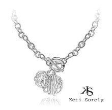 Mother and Child Initials Monogrammed Necklace - Sterling Silver