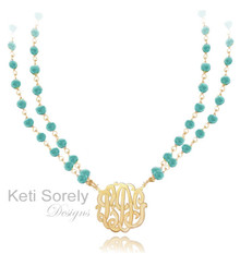 Turquoise Neckalce with Monogrammed Initials - Available in Amethyst, Ruby, Pearl, Turquoise, Onyx, Rose Quartz