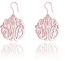 Personalized Handmade Monogrammed Initials Earrings Rose - Ear Wire Style