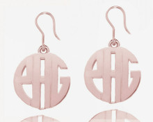 Personalized Monogrammed Initials Rose Earrings - Modern Letters