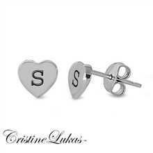 Engraved Heart Stud Initials Earrings Crafted in Solid Yellow, Rose or White Gold
