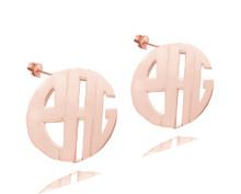 Personalized Handmade Rose Monogram Initials - Stud Earrings