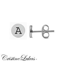 Small Round Disc Stud Initials Earrings Crafted From Solid yellow, Rose or White Gold