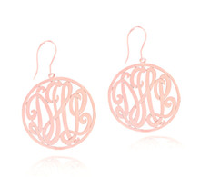 Personalized Handmade Rose Monogram Initials Earrings with Ear Wire
